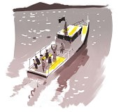 Pleasure boat in the sea, graphic illustration. Graphic, drawing, sketch, illustration