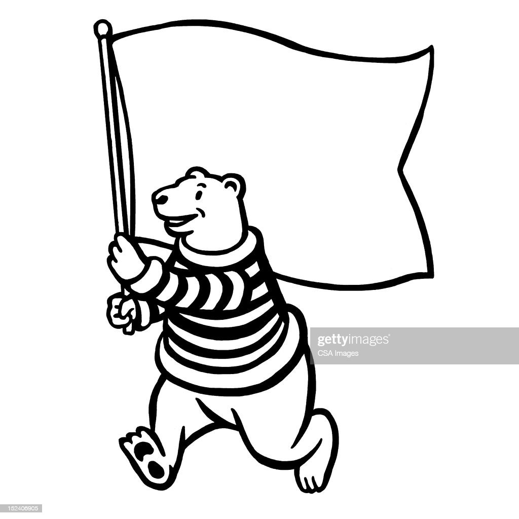 polar bear with flag stock illustration getty images