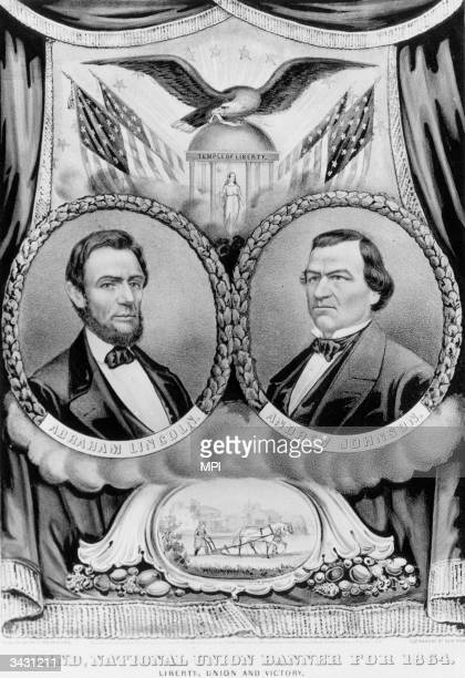 A political banner supporting the candidacy of Abraham Lincoln and his running mate Andrew Johnson for President and VicePresident in 1864 Printed by...