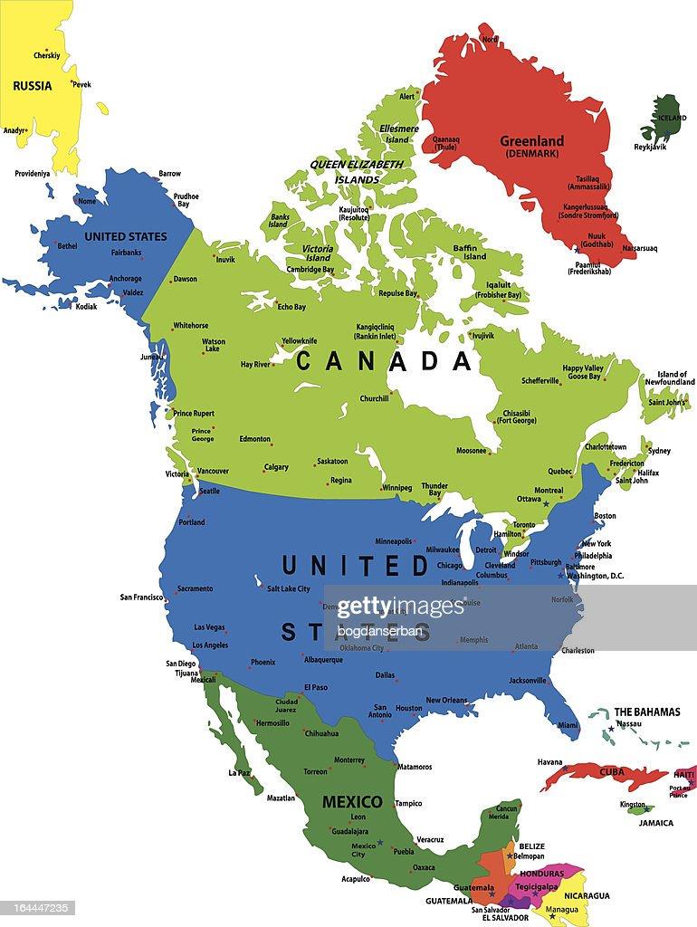 Political Map Of North America Vector Art Thinkstock