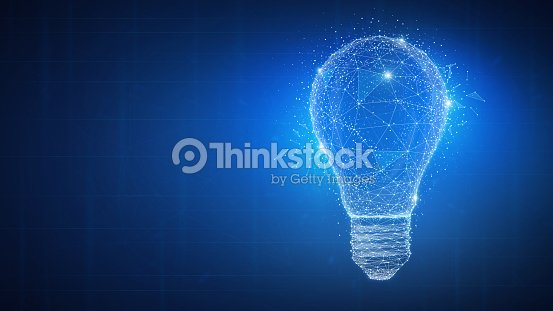 Polygon idea light bulb on blockchain hud banner : stock illustration