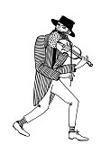 Poor street musician playing the violin. Hand drawn illustration.