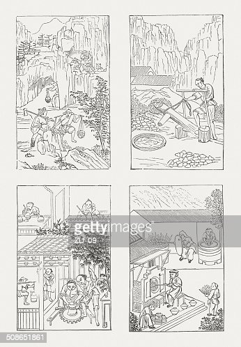 Porcelain production at the Chinese in old tradition, published 1877 : Stock Illustration