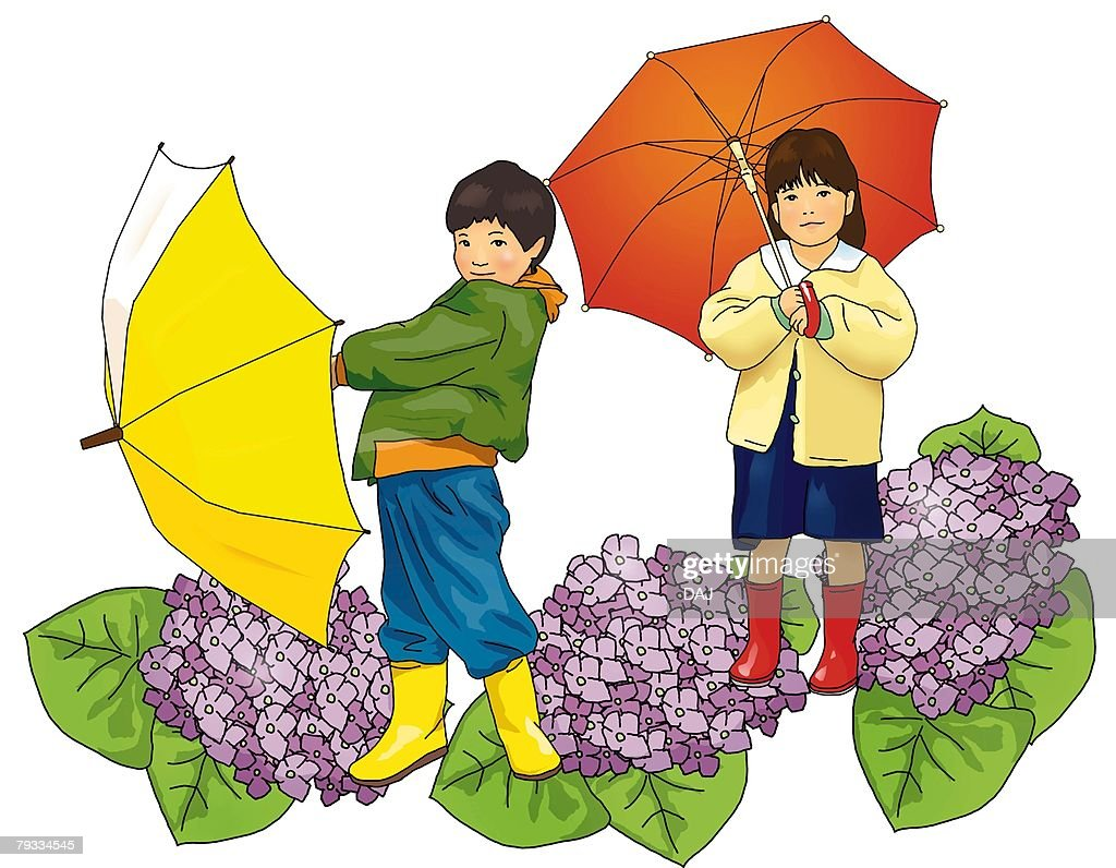 portrait of a boy and a holding umbrella with image of