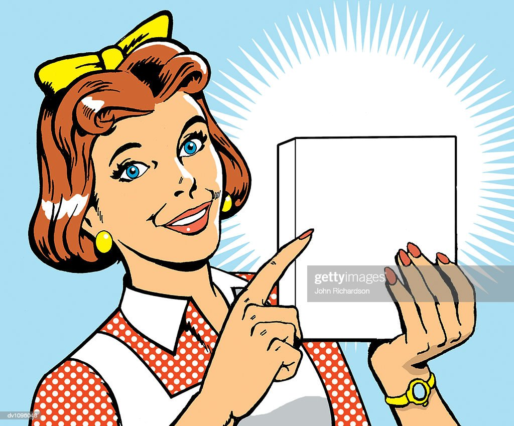 Portrait of a Housewife Holding a Blank Cardboard Box : Stock Illustration