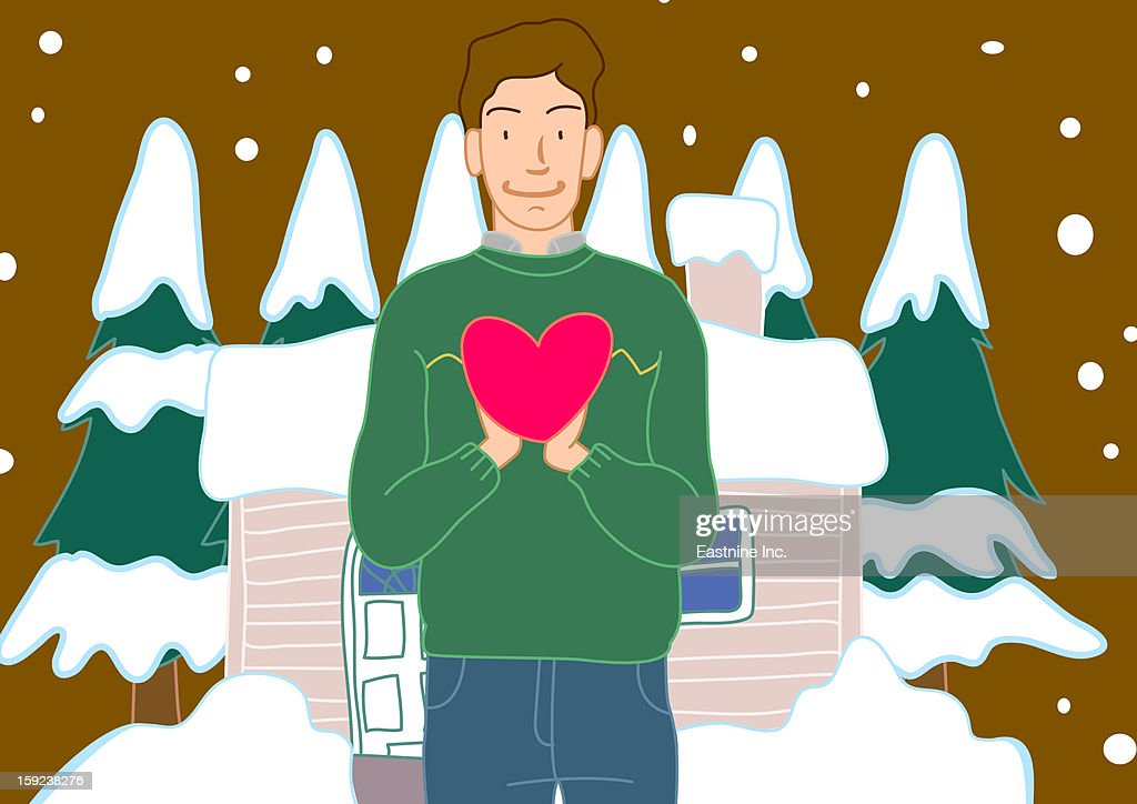 Portrait of a man holding a heart shaped balloon with a snow covered house in the background : Stock Illustration