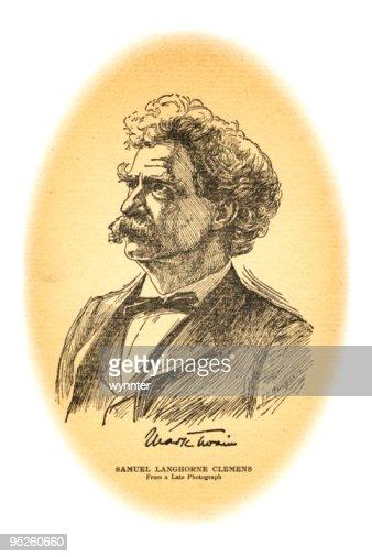 Portrait of Mark Twain : Stock Illustration