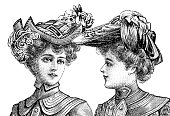 two women wearing elegant vintage hats. Engraved illustration of La Moda Elegante
