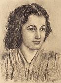 Portrait of woman. Mixed technique on paper.