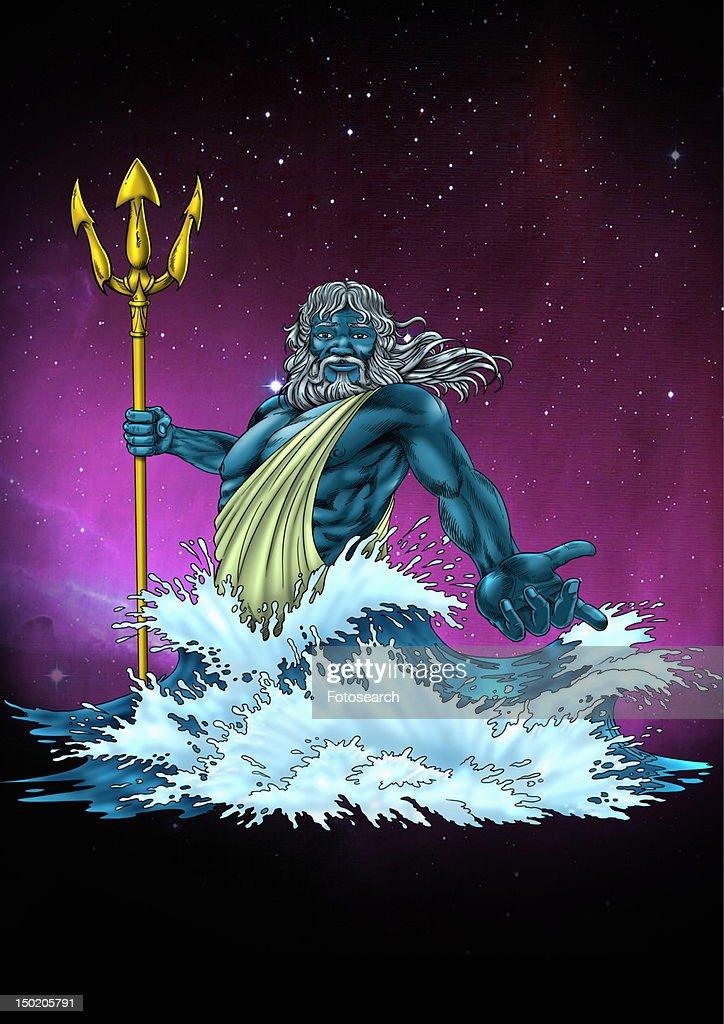 Poseidon in the sea in a rage : Stock Illustration