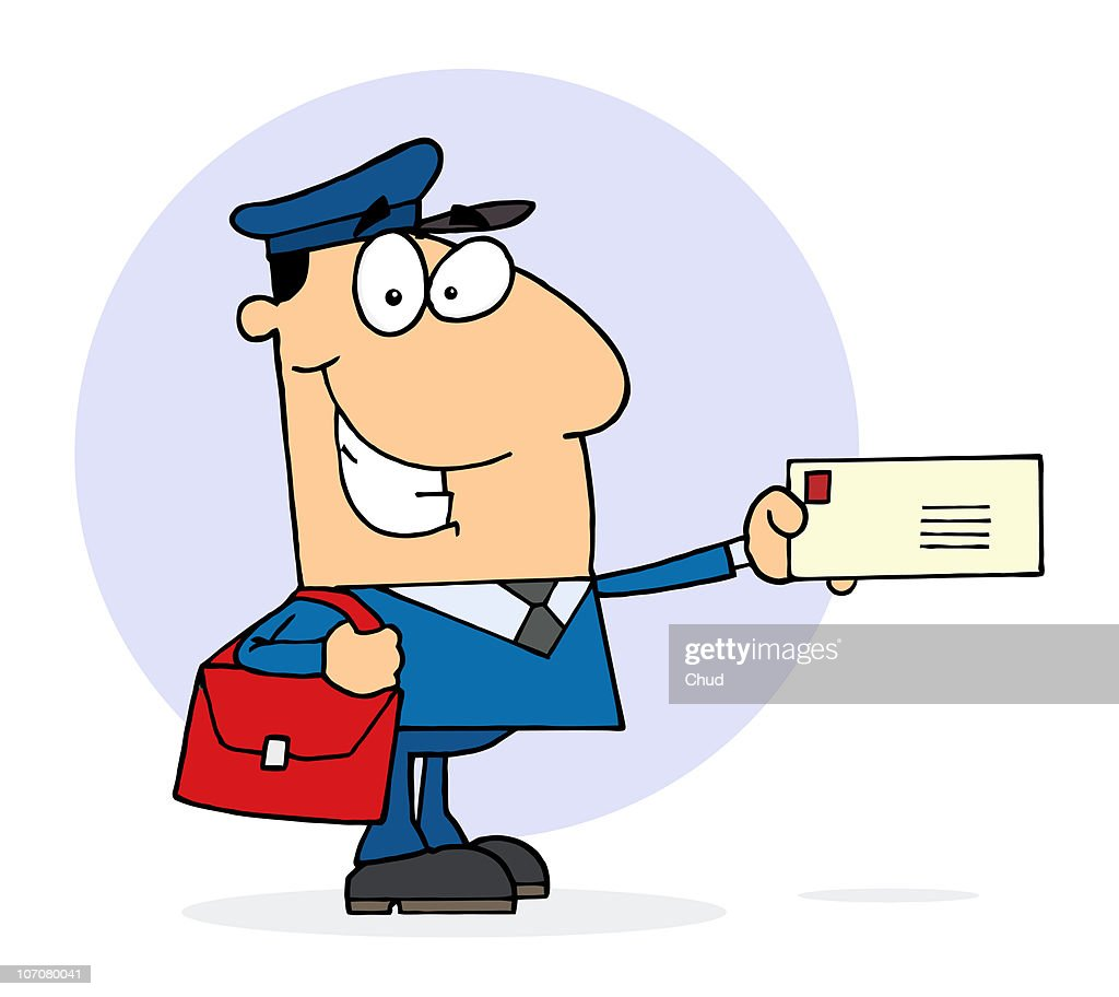 Postal Worker Mail Man Holding A Letter : Stock Illustration