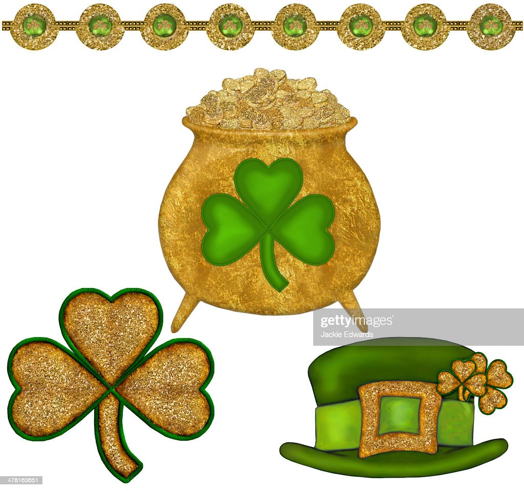 a pot of gold three leaf clovers and a green leprechaun hat stock