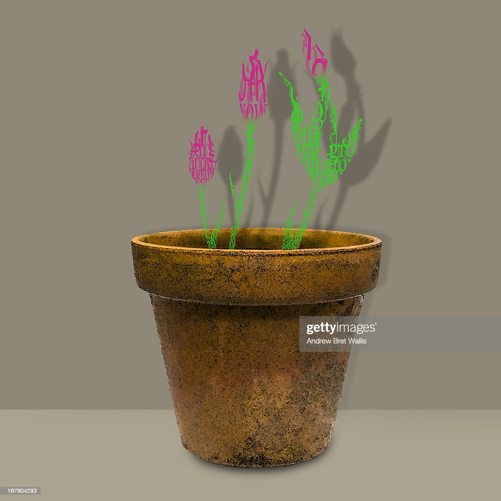 pot plants made from text spell the word growth : Stock Illustration