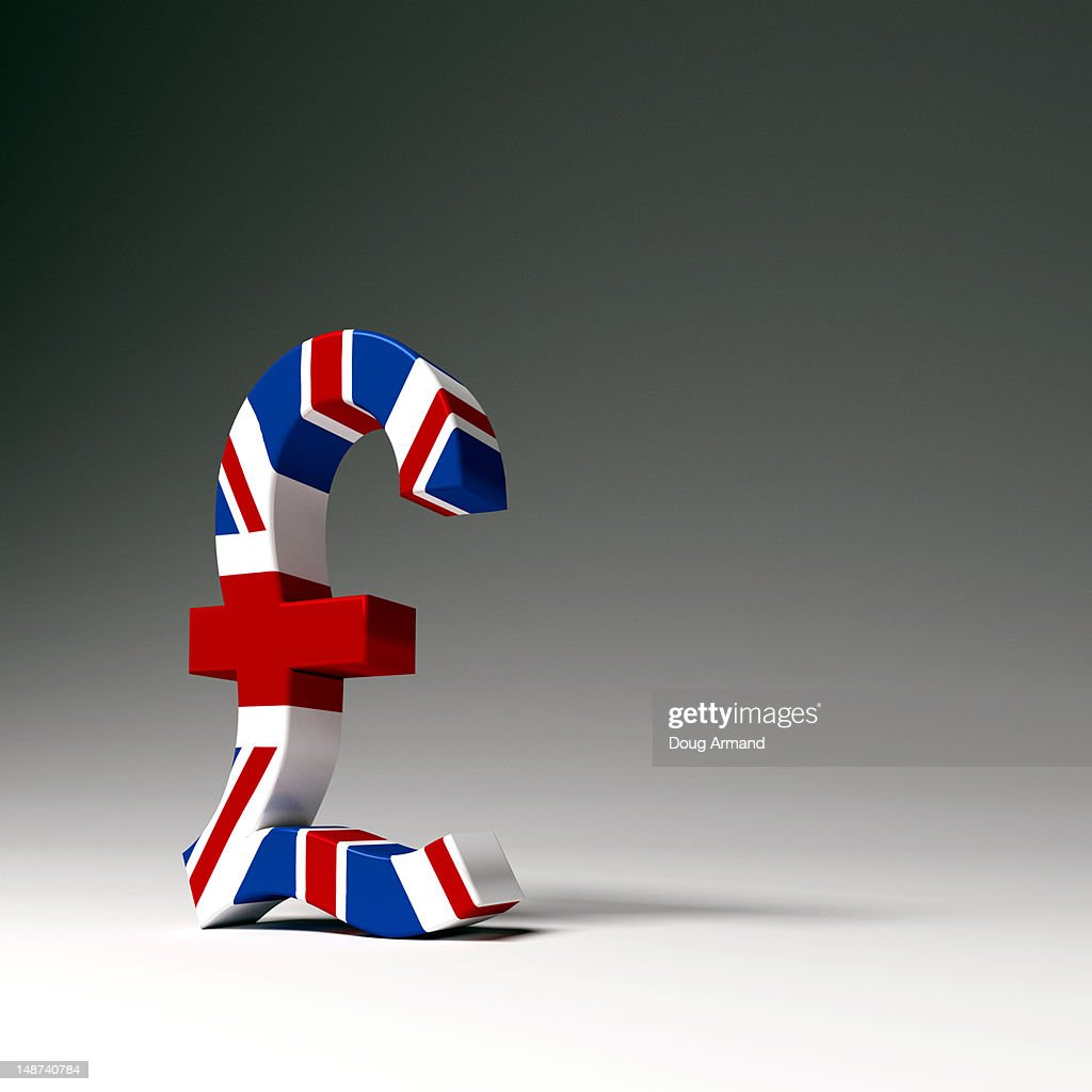 pound currency symbol in a british flag design stock illustration