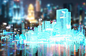Power grid , smart city energy , electric Energy Distribution chain industry technology concept.  3D rendering of building and blur city bokeh background.