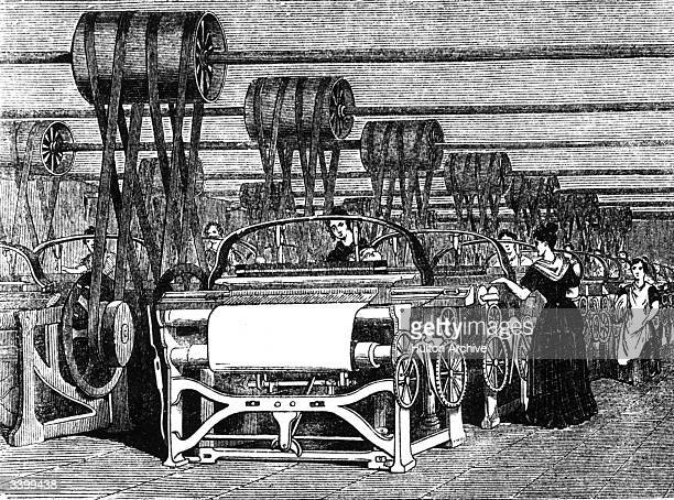 Power looms being used in textile manufacturing during the industrial revolution