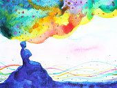 power of thinking, abstract imagination, world, universe inside your mind, watercolor painting