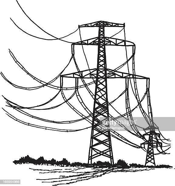 Line Art Design Illustration : Electricity pylon stock illustrations and cartoons getty