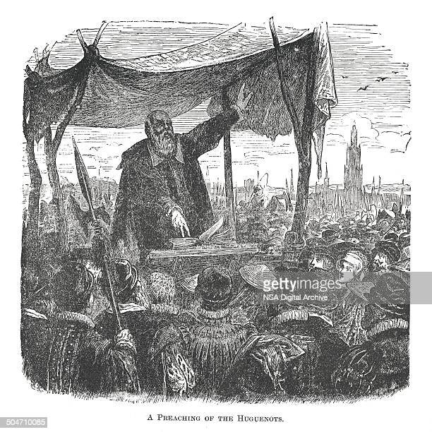 Preaching of the Huguenots (antique engraving)