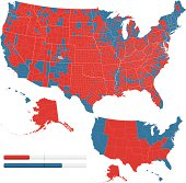 Highly-detailed maps showing the 2008 United States presidential results. One map has each state colored based on who won that state. Blue for Obama. Red for McCain.