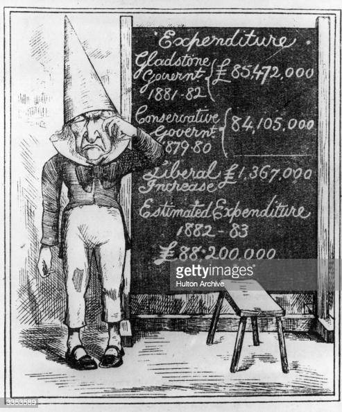 Prime Minister William Gladstone wearing a dunce's hat and standing by a blackboard on which money spent by various political parties is compared