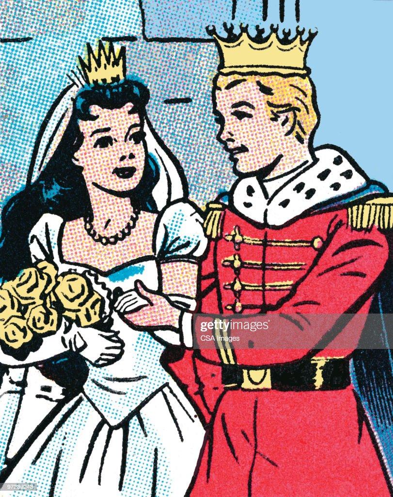 Prince and Princess Wedding : Stock Illustration
