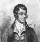 Robert Burns (1759-1796) on engraving from the 1800s. Scottish poet and lyricist. The national poet of Scotland.
