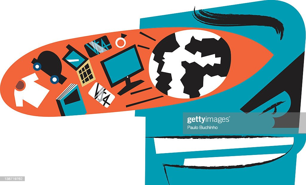 A profile of a man with an eye filled with various objects : Stock Illustration