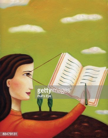 Profile of a woman writing in a journal : Stock Illustration