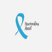 Prostate cancer awareness blue ribbon