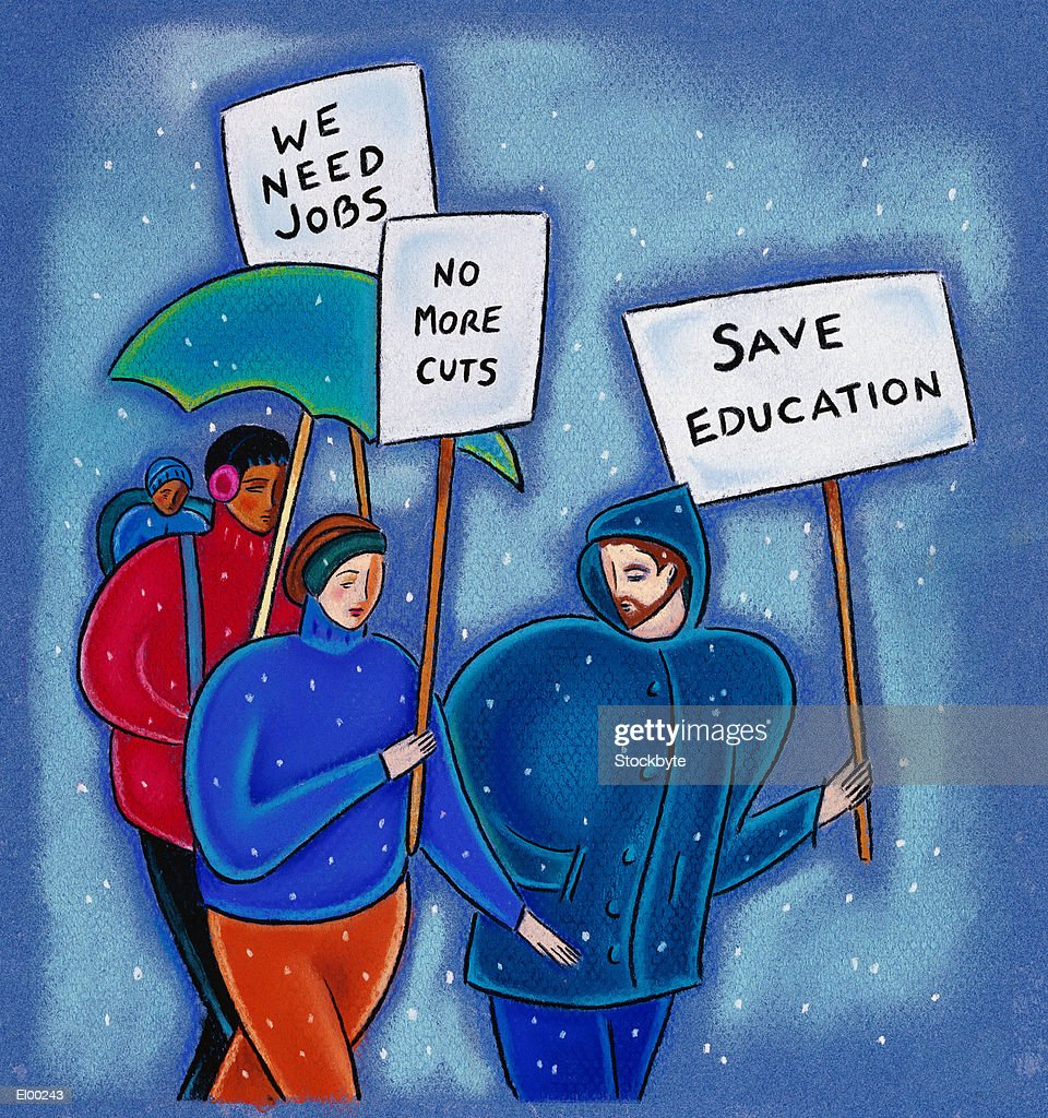 Protesters with picket signs : Stock Illustration