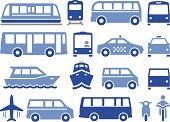 'Illustration of forms of public transportation. Includes trains, buses, boats, vans and more. Professional icons for your print project or Web site. See more in this series.'