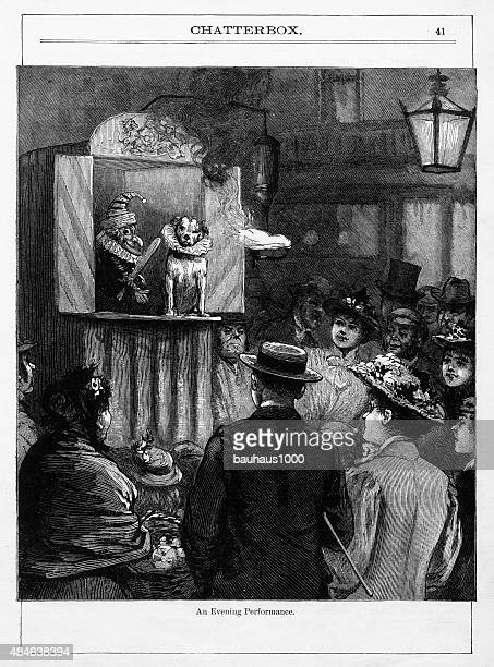 Puppet and Dog Show Victorian Engraving