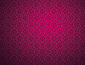 Purple damask wallpaper with floral patterns