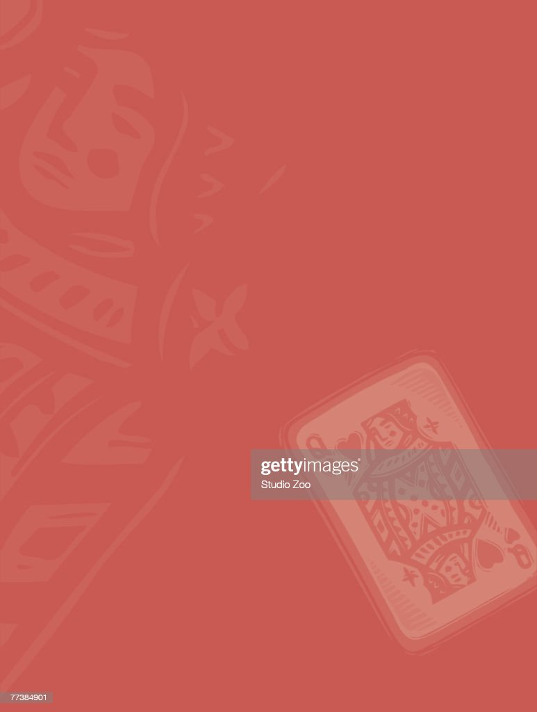 Queen of hearts card on red background : Vector Art