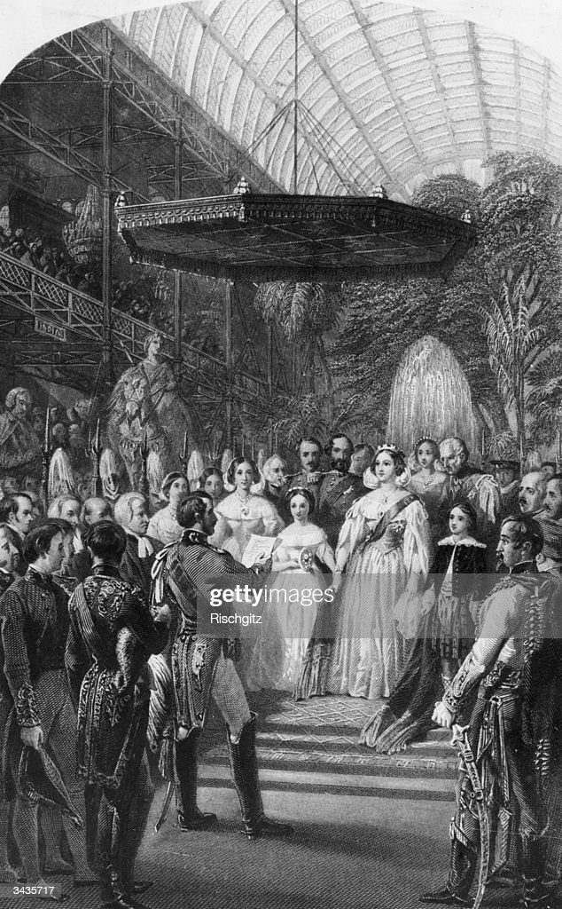 Queen Victoria Prince Albert and their children attend the opening ceremony of the Great Exhibition at Crystal Palace in London's Hyde Park An...