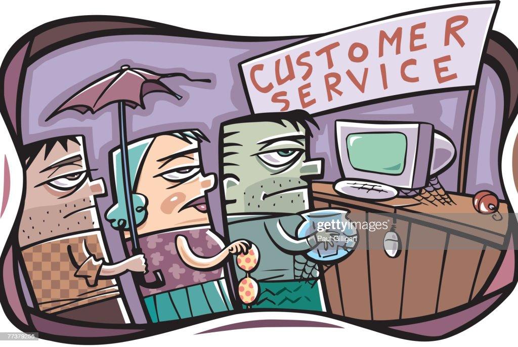 A queue at the customer service counter in a shop : Vector Art