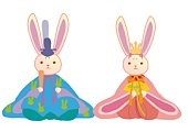 Rabbit shaped dolls as prince and princess in Japanese style clothing, front view, Japan