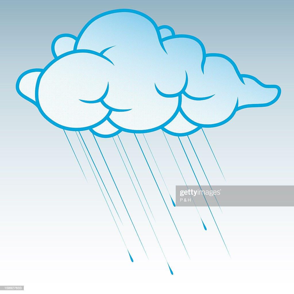 Rain falling from a cloud : Stock Illustration