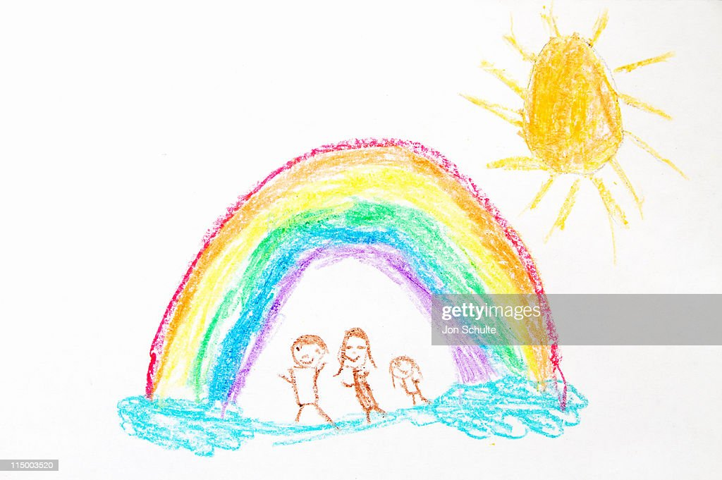 Rainbow and Family Drawing : Stock Illustration