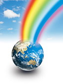 Rainbow coming out of planet earth