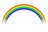 Rainbow illustration - spectrum, white background.