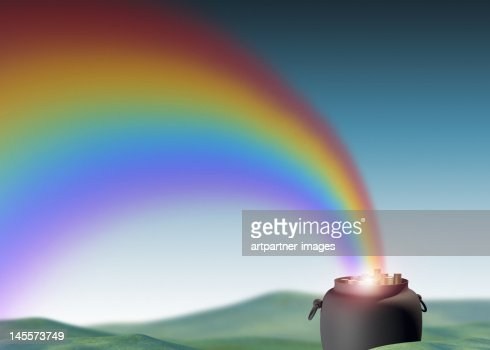 Rainbow leading to a pot of gold coins : Stockillustraties