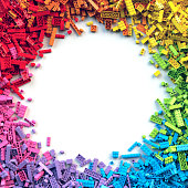 Pile of rainbow toy blocks circle frame with place for your content. 3D Rendering