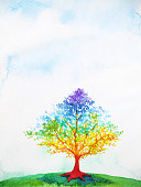 rainbow tree color colorful watercolor painting illustration design