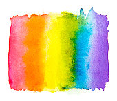 Rainbow watercolor  isolated on white background , Gay pride LGBT , against homosexual discrimination symbol concept