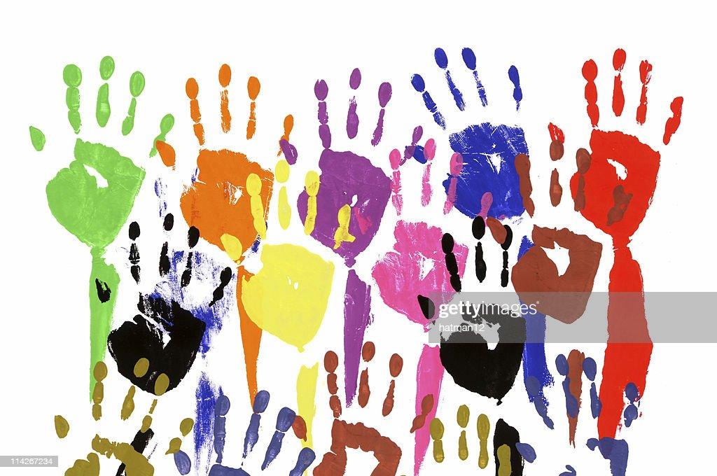 Raised hands in acrylic paint : Stock Illustration