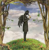 Illustration show Raven in garden