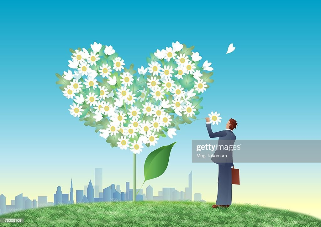 Rear view of a businessman picking flower from a heart shaped tree : Stock Illustration