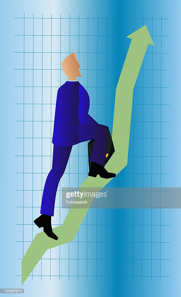 Rear view of a businessman walking up a line graph and carrying a briefcase : Stock Illustration